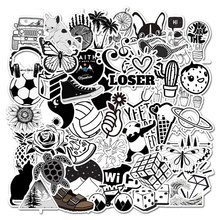 Stickers Notebook Laptop Skateboard-Guitar Cartoon White And Black for Kids Suitcase