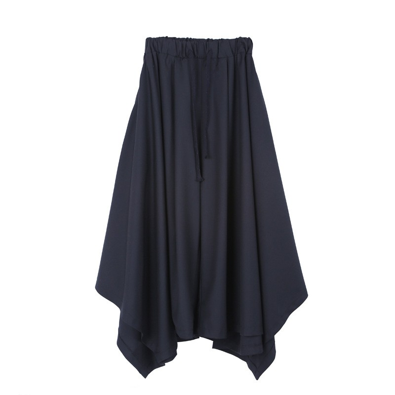 Spring Harajuku Mens Baggy Ankle Length Flare Wide Leg Irregular Pantskirt Loose Fit Elastic Waist Harem Pants Plus Size 19