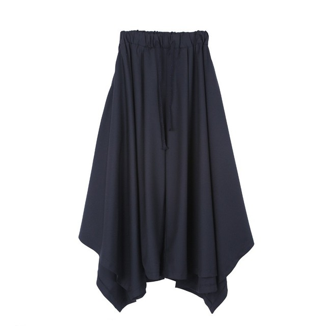 Spring Harajuku Mens Baggy Ankle Length Flare Wide Leg Irregular Pantskirt Loose Fit Elastic Waist Harem Pants Plus Size 6