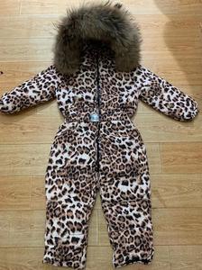 Image 5 - Bas combinaison pour enfants à capuche vêtements de neige plus épais chaud vêtements dextérieur véritable col de fourrure imprimé léopard enfants hiver doudoune Y1704
