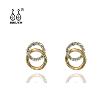 DREJEW Small Gold Circle Alloy Rhinestone Statement Earrings 925 Crystal Stud Sets for Women Wedding Jewelry HE5511