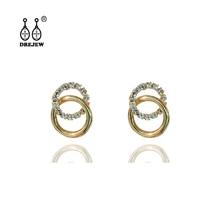 DREJEW Small Gold Circle Alloy Rhinestone Statement Earrings 925 Crystal Stud Earrings Sets for Women Wedding Jewelry HE5511 цена и фото
