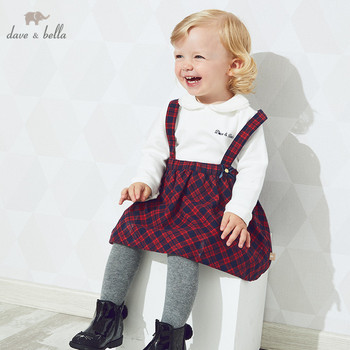 DB14589-2 dave bella autumn baby girl's princess bow plaid strap dress lolita party suspenders dress toddler children clothes image