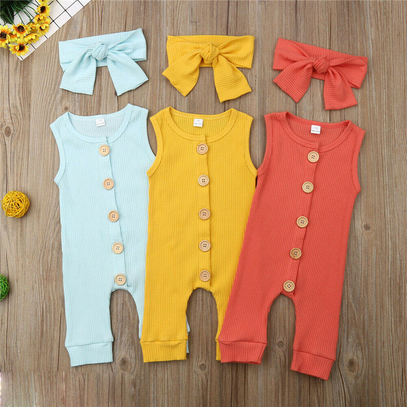 2020 Summer Sleeveless Knit Newborn Baby Girl Boy Clothes Solid Color Romper Jumpsuit Soft Baby Playsuit Headband Outfit