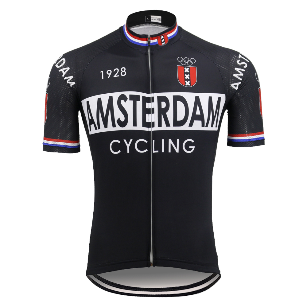National Black Cycling Jersey Short Sleeve Mtb Jersey AMSTERDAM FRANCE ITALIA HOLLAND Bike Clothing Ropa Ciclismo 5 Style