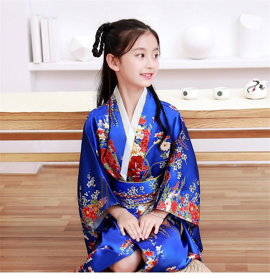 Shaoyao Fille Floral Kimono Satin Soie Kimono Imprim/é Peignoir Long Robe