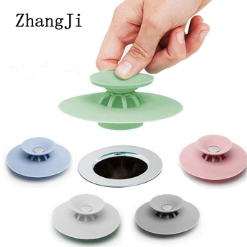 ZhangJi Silicone Sink Plug Strainer Stopper Press Drain Hair Catcher Household Basin Bathtub Supplies Kitchen Accessories