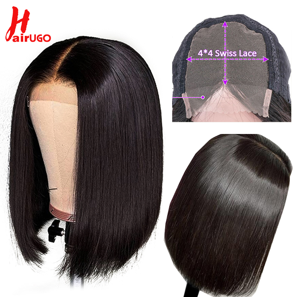 HairUGo 4*4 Lace Bob Wigs 100% Human Hair Wigs 8''-16'' Middle Ratio Pre Plucked Lace Wig Brazilian Remy Hair For Black Women
