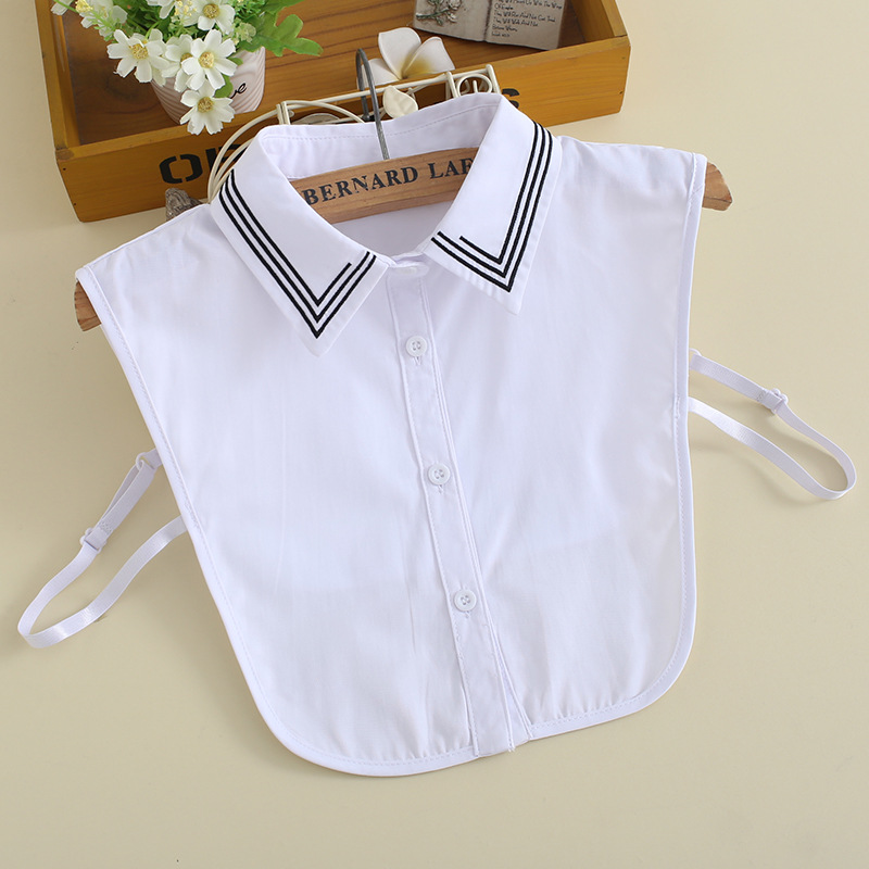 New Embroidered Fake Collar Blouse Versatile Cotton White Tip Collar Decorative Fake Collar Korean Version