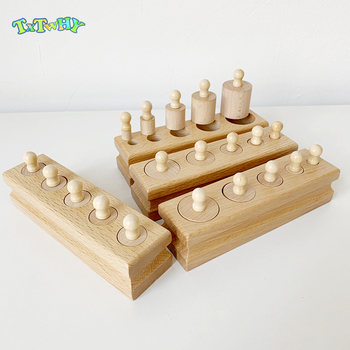 Baby Montessori Educational Wooden Toys Montessori Educational Cylinder Socket Blocks Toy Development Practice and Senses wooden sensory toys box with sliding lid attention practice game baby boy 0 3 years home educational toy montessori