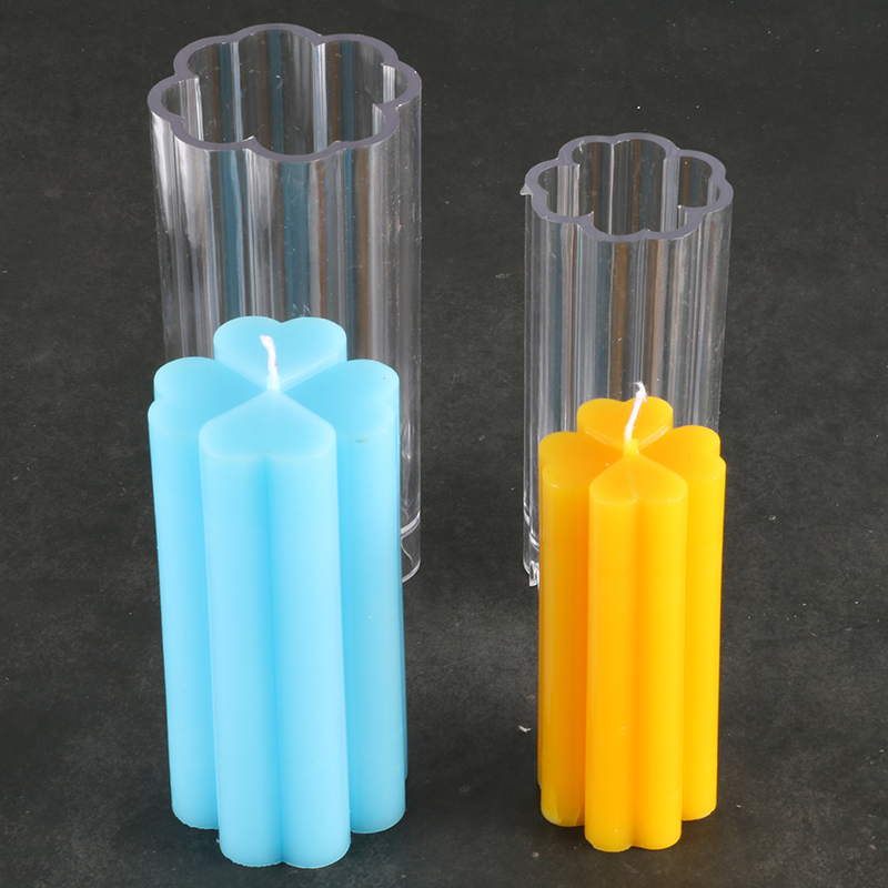 DIY Clover Shape Candle Mold Transparent Pc Empty Candles Making Jars Formy Do Swiec Diy Moulds Candle Form Lz65