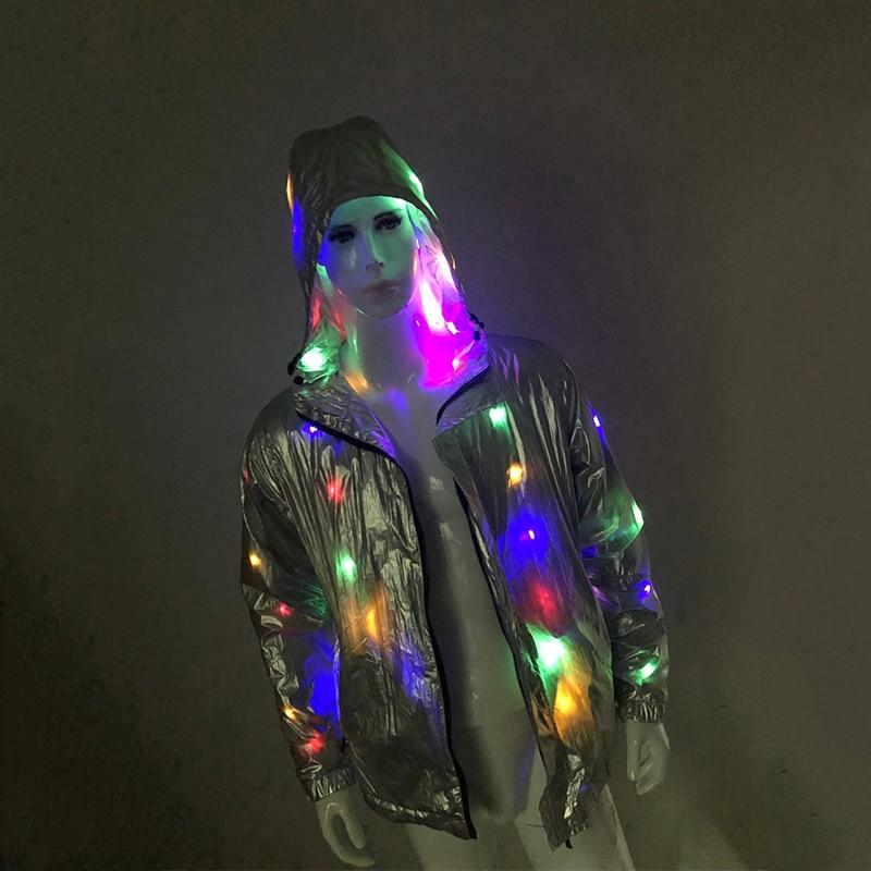 Rave Light Up LED Hooded Stage Jacket For Men Holiday Season Sparkling LED Light Up Silver Jacket Coat Plus Size