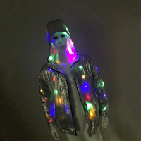 Rave Light Up LED Hooded Stage Jacket for Men Holiday Season Sparkling LED Light Up Silver Jacket Coat Plus Size