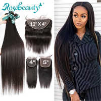 Rosabeauty 8- 28 30 32 inch Brazilian Human Hair Weave Remy Natural Straight 3 4 Bundles With 5x5 Lace Closure and 13x4 Frontal