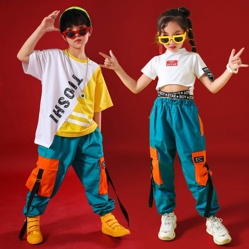 Hip Hop Kids Jazz Dance Costumes For Girls Boys Clothes Ballroom Dancing Costumes Stage Outfits Perform Dancewear T Shirt Pants