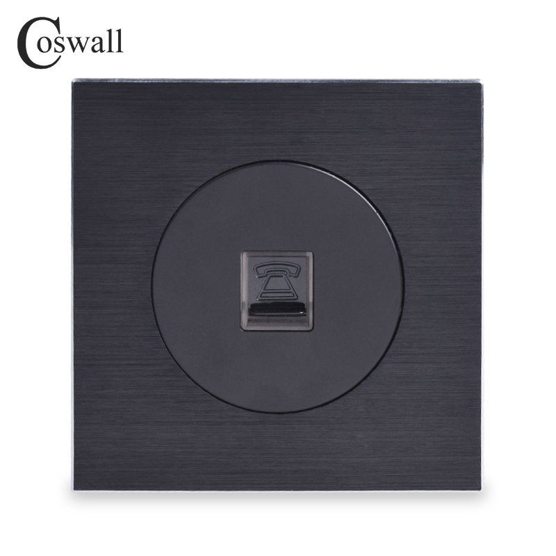 Coswall Luxurious CAT3 RJ11 4 Core Telephone Connector Phone Jack Aluminum Brushed Panel Wall Socket Knight Black R12 Series