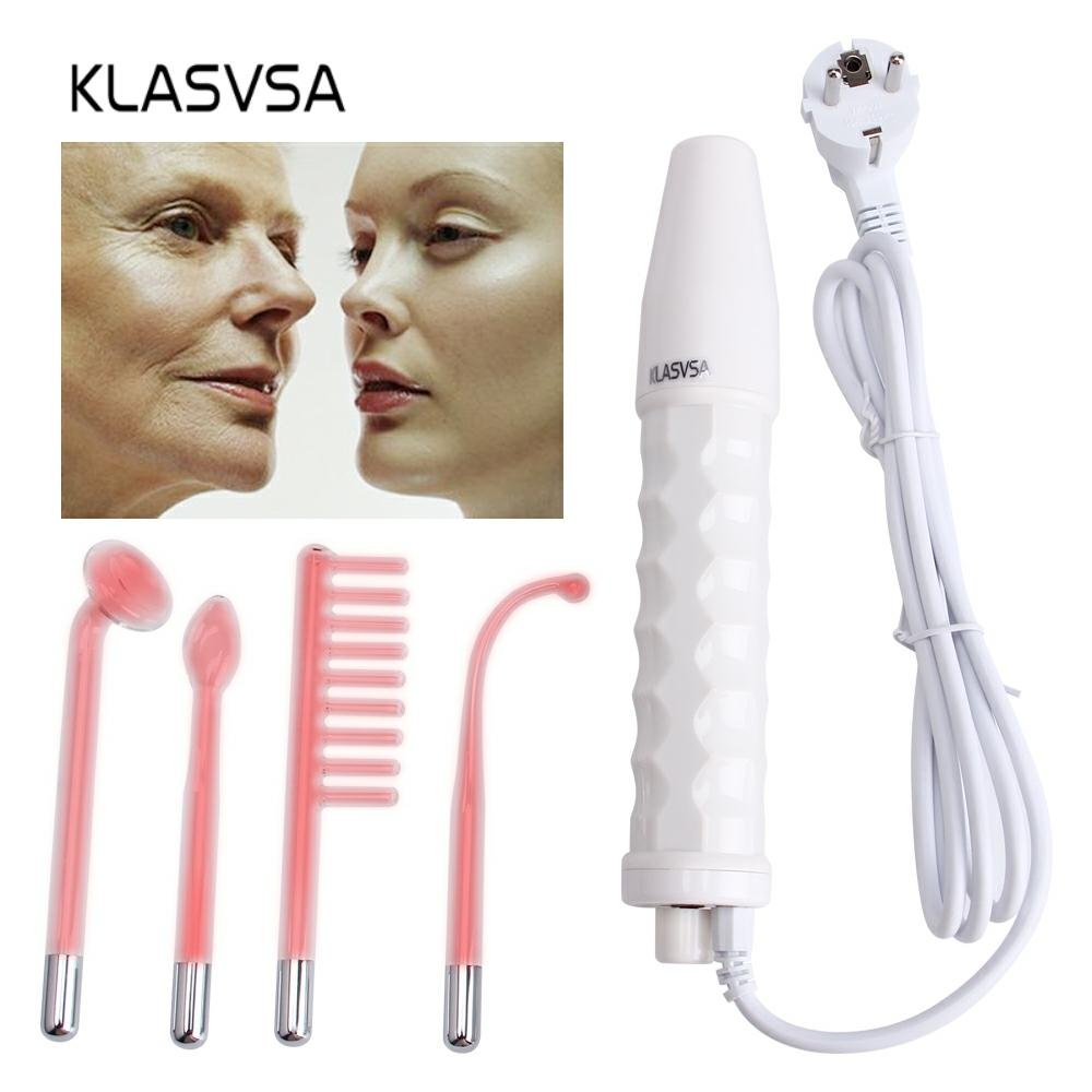 Darsonval Wand 4 In 1 High Frequency Remover Facial Skin Care Facial Spa Salon Acne Therapy Device + 1 EU Adapter Glaselektrode