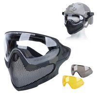 Airsoft Paintball Mask Safety Protective Anti-fog Goggle Full Face Mask With Black/Yellow/Clean Lens Tactical Shooting Equipment