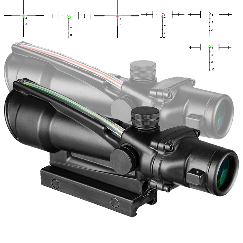 5x35 ACOG Style Hunting RifleScopes Red or Green Glass Etched Reticle Real Fiber Optics Tactical Sights Rifle Scope