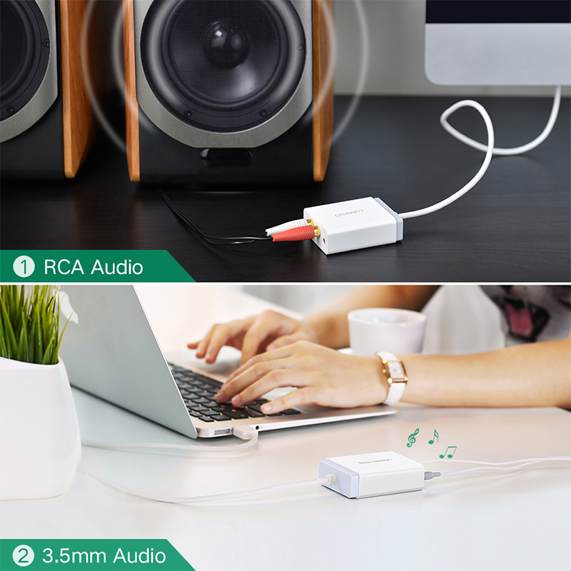 Ugreen 2 RCA USB Sound Card Audio Interface 3.5mm USB Adapter to Speaker Microphone for Laptop Computer External Sound Card 5