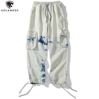 Pantalones de chándal Aolamegs pantalones casuales con estampado de acuarela para hombre pantalones holgados con varios bolsillos y cintura elástica
