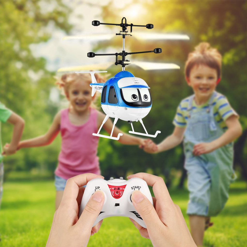 Induction Flying Toys RC Helicopter Cartoon Remote Control Drone Kid Plane Toys