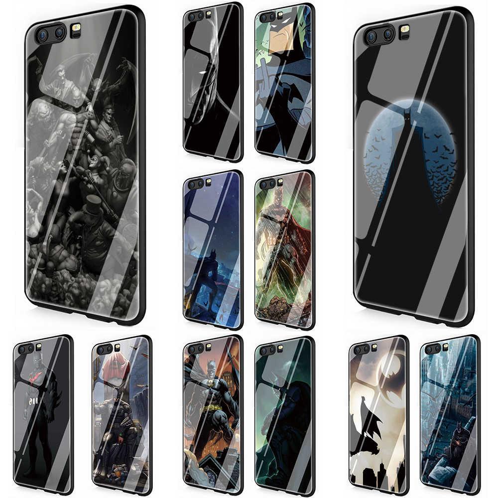 Batman vidro temperado caso capa do telefone para huawei p10 p20 p30 y6 y9 honra 8x 7a 9 10 lite companheiro 20 lite pro