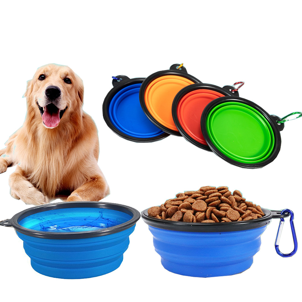 1000ML Pet Bowl Folding Silicone Travel Dog Bowls Walking Portable Water Bowl For Dogs Cat Food Bowls Universal Pet Dished