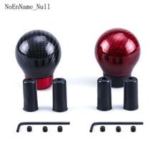 Gear Shift Knob Universal Shifter Knobs + 3 Adaptors M8*1.25mm M10*1.25mm M10*1.5mm Inner Stick Round Ball Carbon Fiber