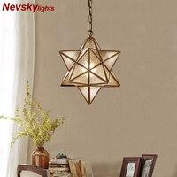 Star copper pendant lights dining modern lustre salon pendant lighting kitchen Fixture suspension luminaire pendant lamp bedroom