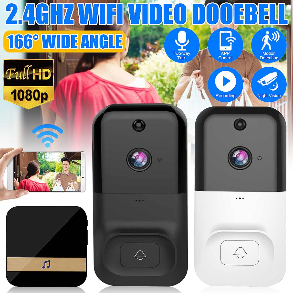 Wireless Wifi Doorbell Infrared Smart Video Chime Intercom HD 1080P Home IP Door Bell Camera Security Alarm IR Night Vision