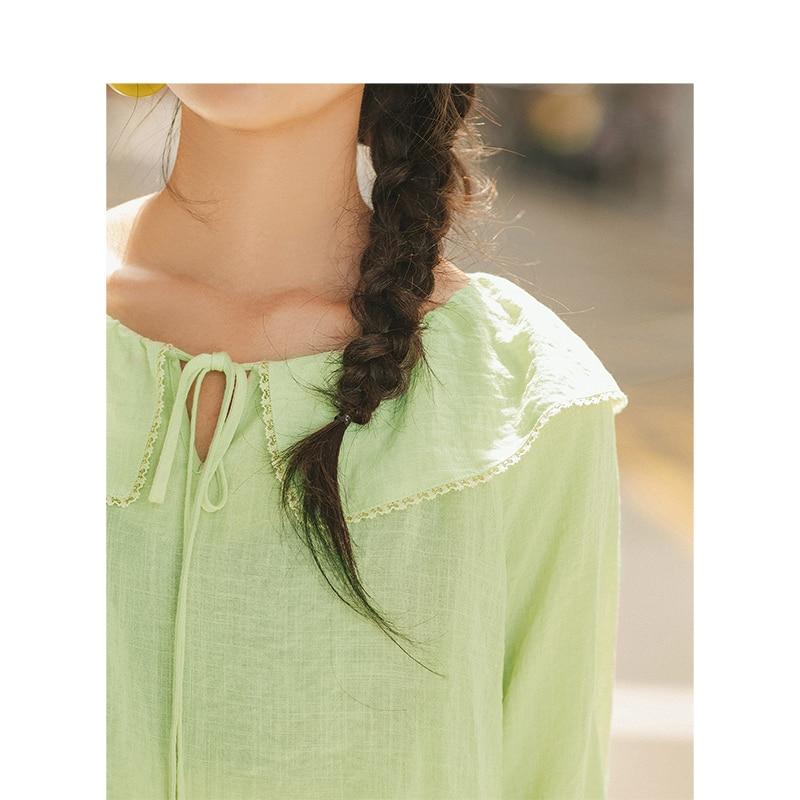 Image 4 - INMAN Spring Autumn Viscose Blending Light Green Lacing Turn Down Collar Flare Medium Sleeve Women BlouseBlouses & Shirts   -