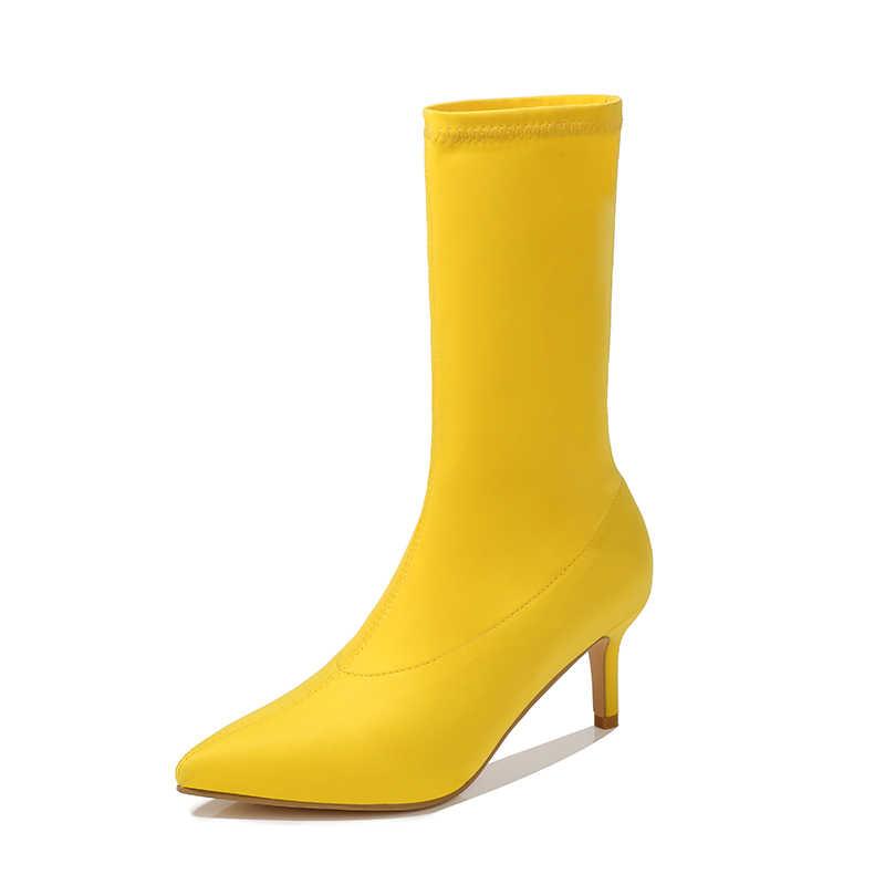 2020 kış yeni çorap çizmeler moda kadın streç kumaş sivri burun yarım çizmeler sarı mavi kırmızı düşük topuklu çizmeler artı boyutu ayakkabı