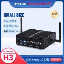 Factory price fanless mini pc celeron quad core J4125 small desktop server dual lan soft router firewall computer for kiosk