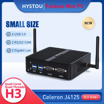 Factory price fanless mini pc celeron quad core J4125 small desktop server dual lan soft router firewall computer for kiosk - DISCOUNT ITEM  28 OFF Computer & Office