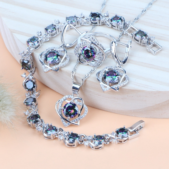 Silver 925 Rainbow Cubic Zirconia Costume Bridal Jewelry Sets Rings Earrings Bracelets Pendant Wedding Necklace Sets For Women 1