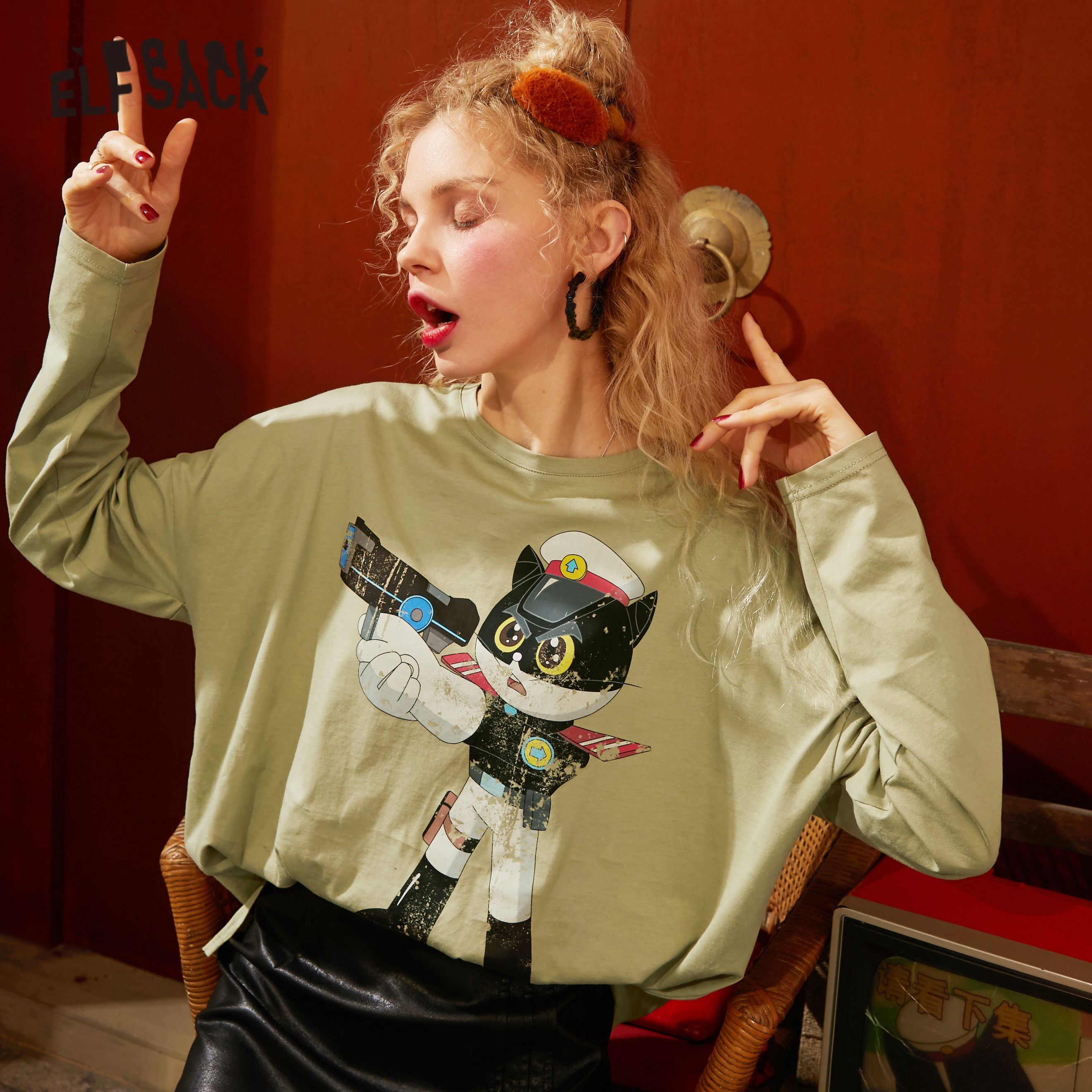 ELFSACK Orange Solid Cartoon Print Loose Casual T Shirt Women 2020 Spring New Gray Long Sleeve Korean Style Ladies Daily Tops
