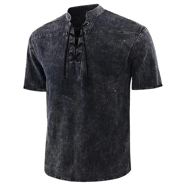 Men's T Shirt Casual Pure Color Short Sleeve Linen-cotton  1