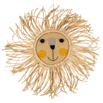 Cartoon Lion Hanging Decorations Handmade Cotton Thread Weaving Animal Head Ornament Kids Room Wall Home Accessory