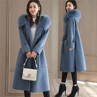 Women winter coat Fashion Fur collar Faux Wool Coat Women Hooded Korean Long Warm Woolen coat New High quality Ladies Overcoat