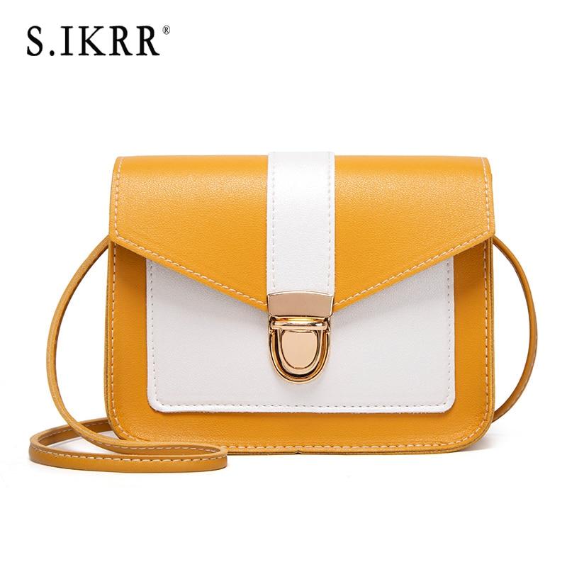 S. IKRR nowe modne torebki Crossbody dla kobiet prosta blokada twarda skóra ekologiczna Mini kwadratowe torby na ramię Messenger torebka damska torba