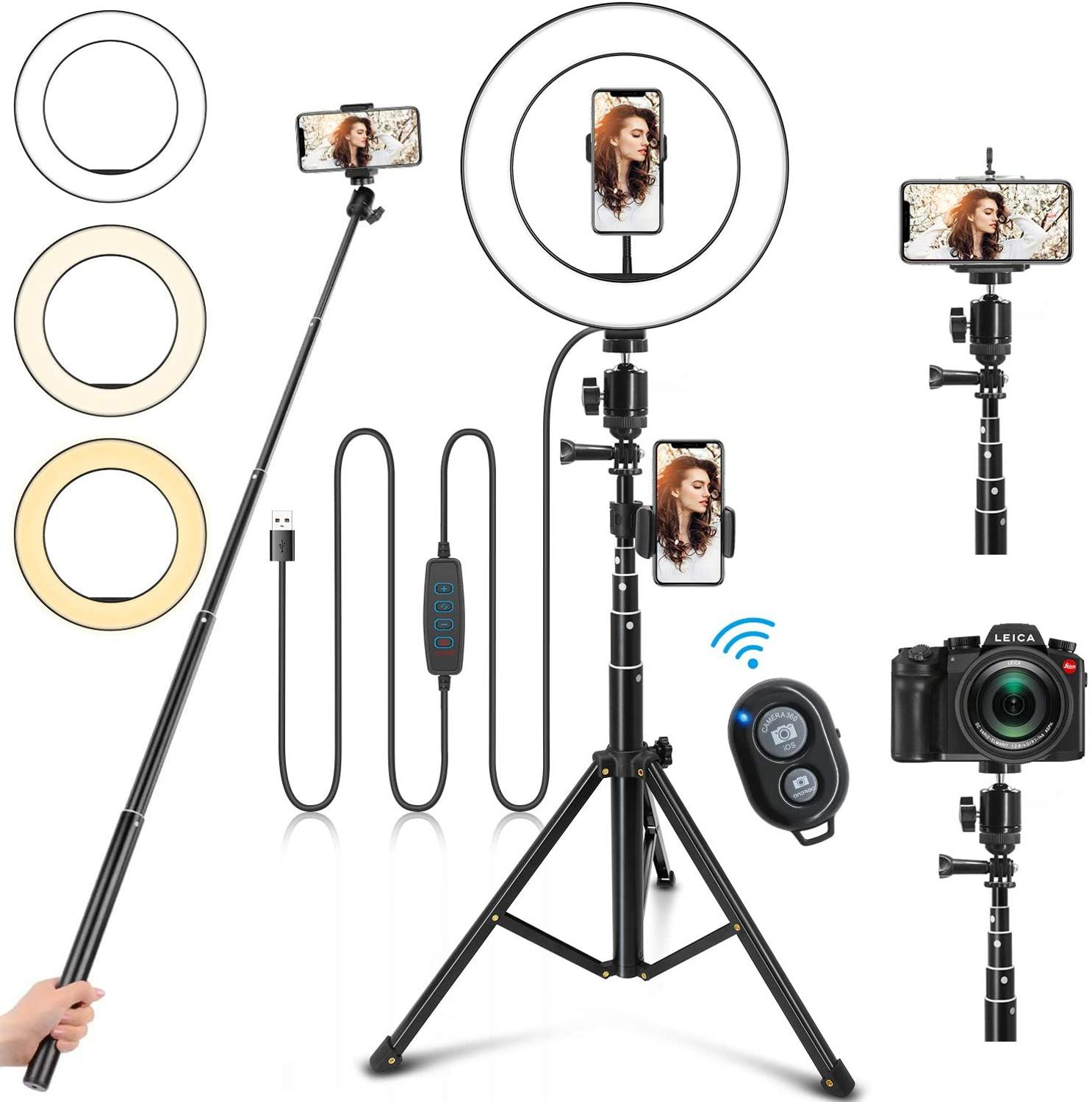 16 26cm LED Ring Light with Stand Photography Flash Lamp with 160cm Selfie Stick Bluetooth for Makeup Youtube VK Live Fill Light
