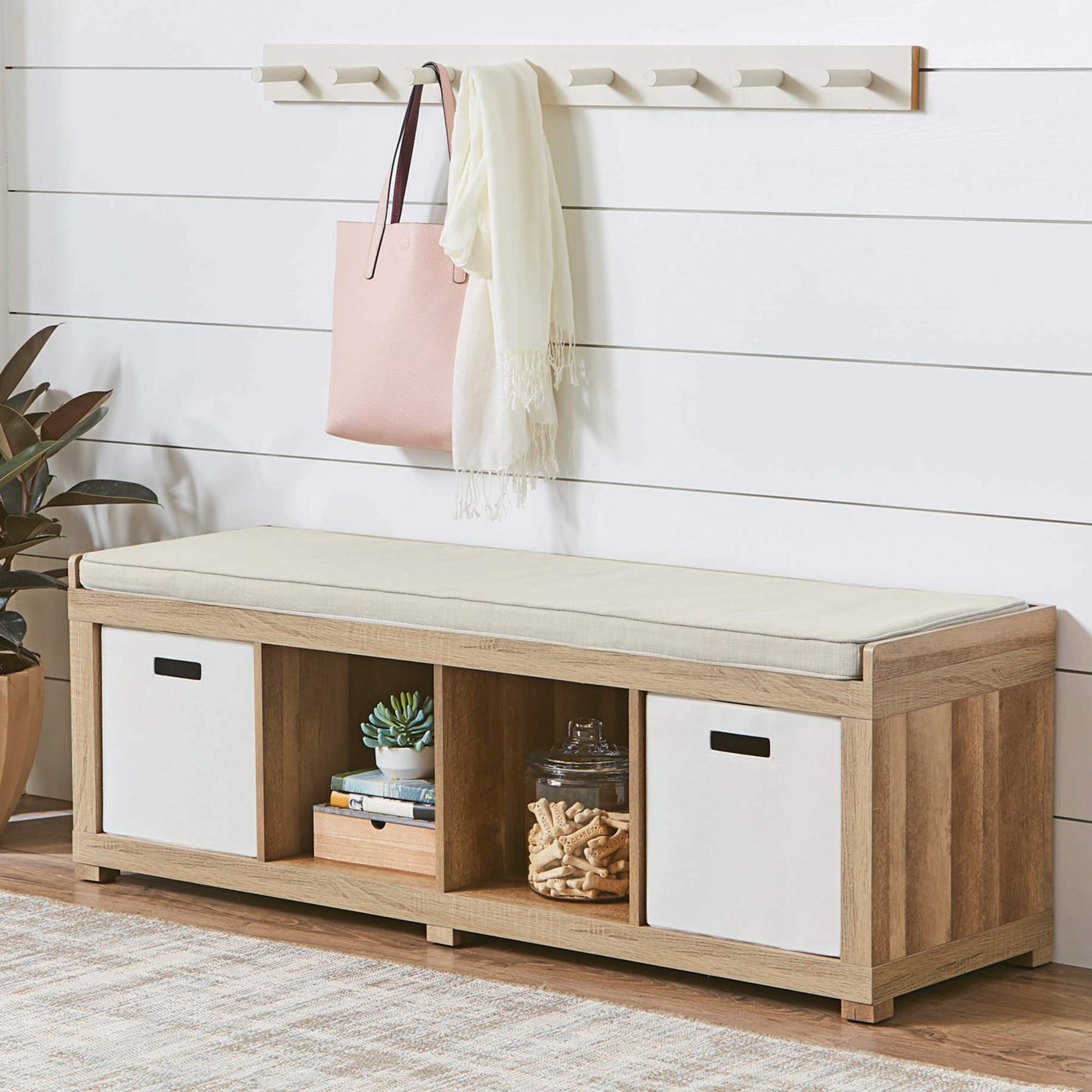 Modern Shoe Bench With Seat Cushion Storage Stool Rack Shelf Box Organizer Padded Cushion Toys Shoes Cabinets Home Decorations
