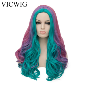 Image 2 - VICWIG Women Cosplay Multicolor Stitching Gradient Wig Long Wig Curved Big Wave Black and White Blue Pink Color Wigs