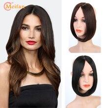 Накладные волосы MEIFAN на заколках спереди, челка, боковая бахрома, накладные волосы, настоящие натуральные невидимые челки, Синтетические длинные челки, аксессуары