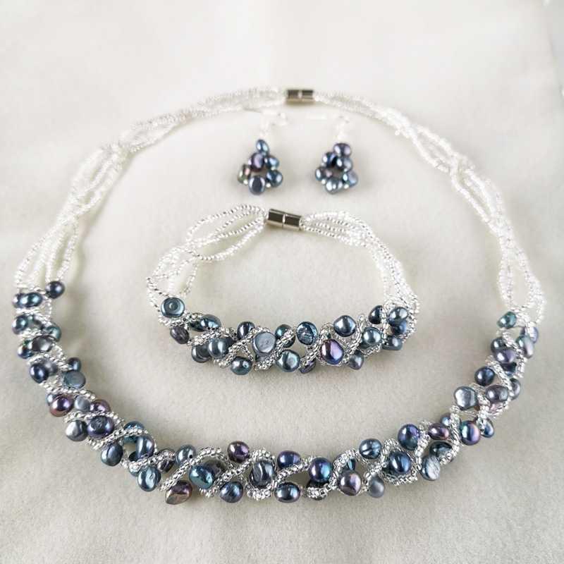 DMSFP400 Buatan Tangan Anting-Anting Kalung Gelang 5-6Mm Mutiara Air Tawar Alami Set Perhiasan untuk Wanita Hadiah Pengantin