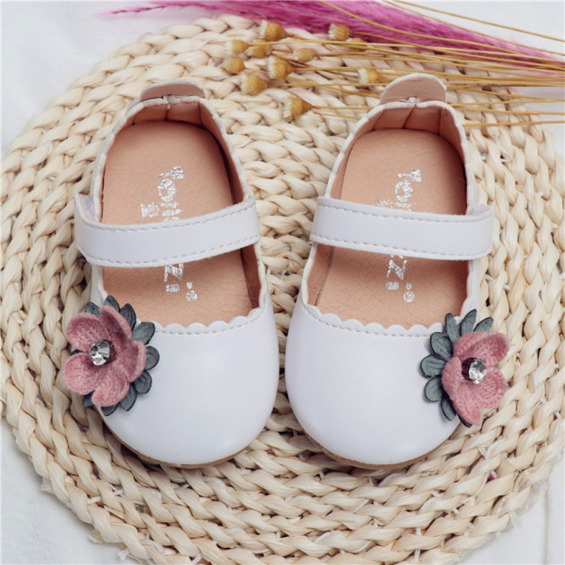 New Baby Girl Autumn Casual Cute Flower Decoration Soft Leather Rubber Sole First Walkers Shoes Soft