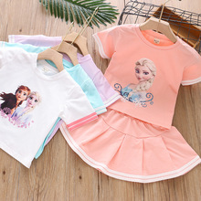 2Pcs Baby Girl Outfits Summer Anna Elsa Skirt Suit Fashion Heat Transfer T-shirt Solid Skirts Cute Infant Kids Princess Set 3-7Y cute baby girl clothes set 2017 summer cat printed t shirt tops tutu skirt 2pcs princess girls outfits children suit 2 7y