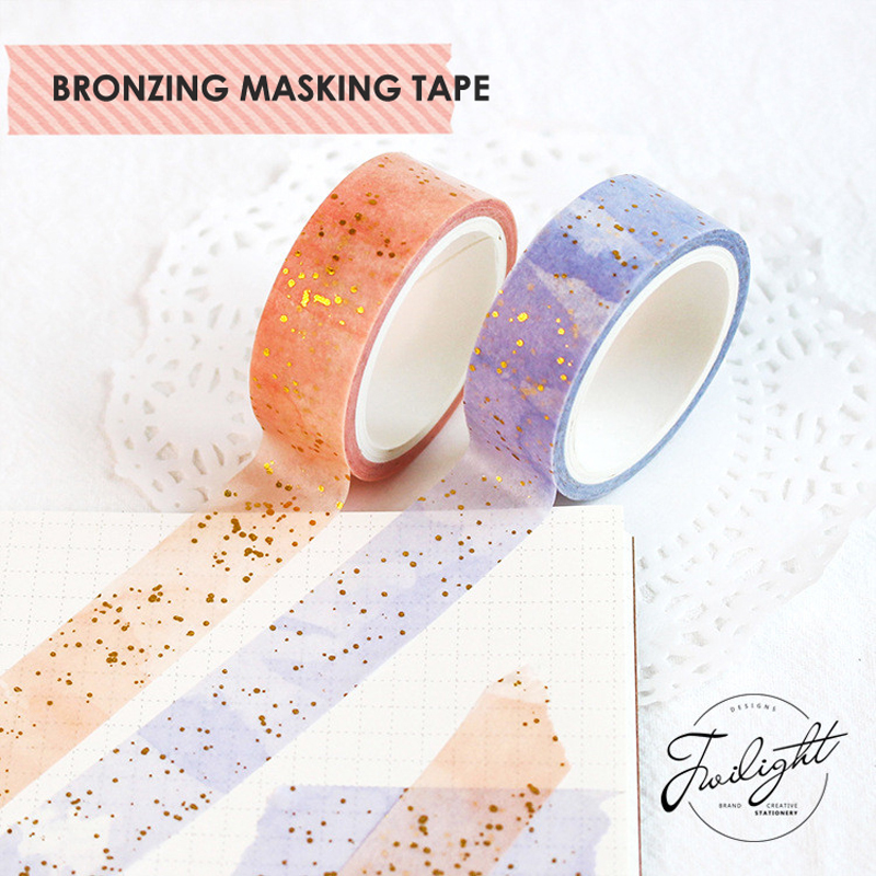 15mmX5m Dream Romantic Bronzing Tape Shiny Decoration Washi Tape DIY Sticker Party Decorations School Office Stationery Support