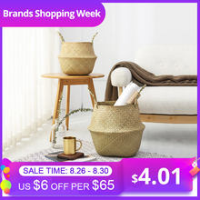 Hot Household Foldable Natural Seagrass Woven Storage Pot Garden Flower Vase Hanging Basket With Handle Storage Bellied Basket(China)